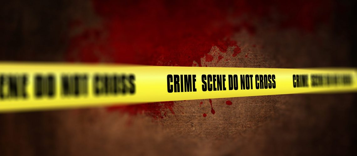 3D render of a crime scene tape against defocussed background